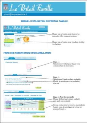 Couverture Guide d'utilisation du Portail Famille